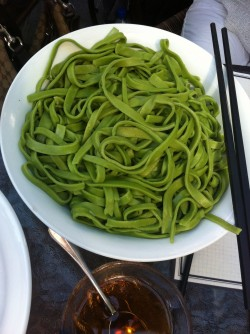 Fresh spinach noodles!